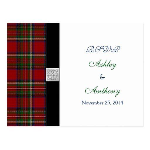 Royal Stewart Tartan Wedding Rsvp Reply Postcard