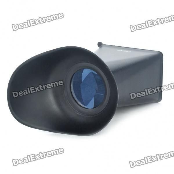 Model: V2 - Color: Black - Material: Rubber + plastic + optical lens - Magnification: 2.8X - 180 degree view angle - Allows view LCD in bright outdoor daylight - Easy install and remove with magnetic bracket - Frame inner size: 67 x 45mm - Frame outer size: 74 x 52mm - Compatible with Canon 550D / Nikon D90 http://j.mp/VG0Js3