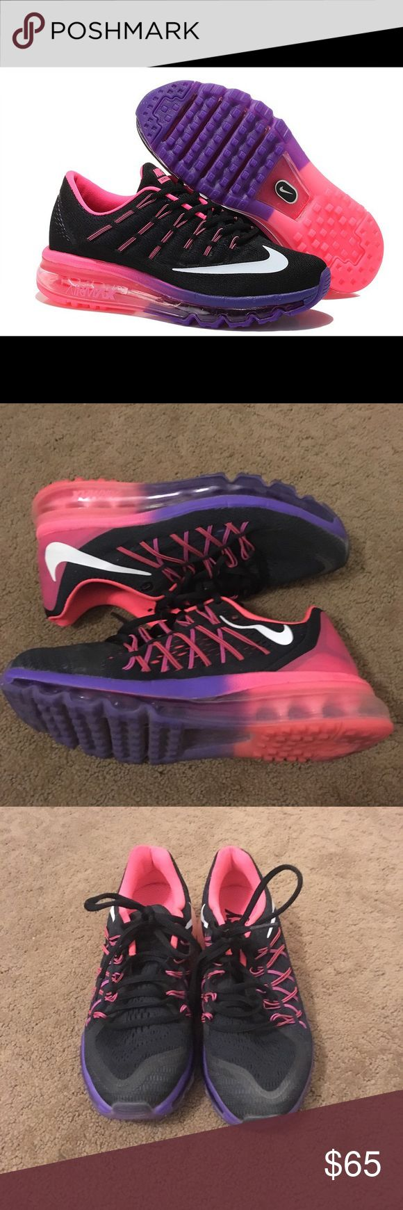 Nike Air Max 2016 Running Shoes Nike air max 2016 mesh running sneakers. Has an air cushion outsole design. Pink, purple, and black in color. Perfect for any work out! Great condition! Does not come with the bottom nike watch attachment seen in first picture. Nike Shoes Athletic Shoes
