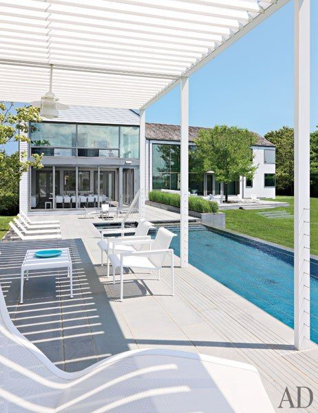 A Modern Hamptons Home by Leroy Street Studio : Interiors + Inspiration : Architectural Digest. Love this pergola.