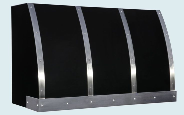 Custom Made Black Range Hood With Stainless Straps & Rivets
