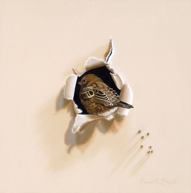 """Trompe-l'oeil English Sparrow Bird Oil Painting by Camille Engel, """"Back Home"""" by CamilleEngelArt, via Flickr"""