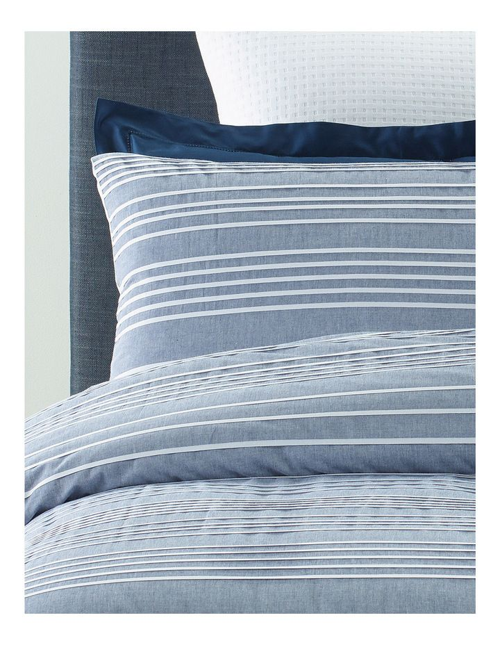 Heritage Rochefort Yarn Dyed Stripe Quilt Cover Set In Blue
