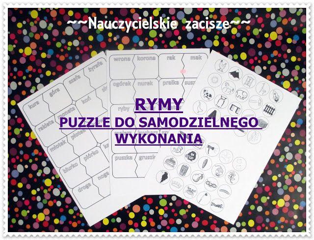 Nauczycielskie zacisze: Tworzymy rymy - puzzle do samodzielnego wykonania ...