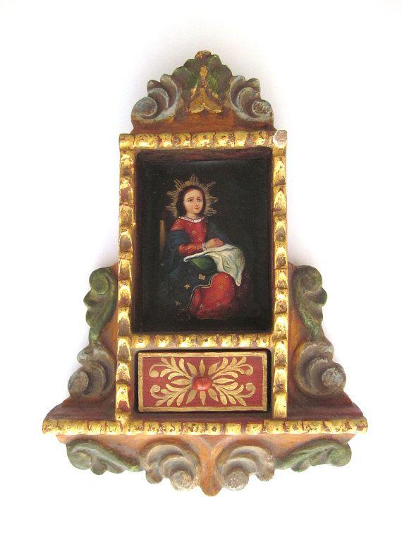 Religious Art Retablo, Religious Shrine, Miniature Oil Painting of Jesus on Etsy, $250.00