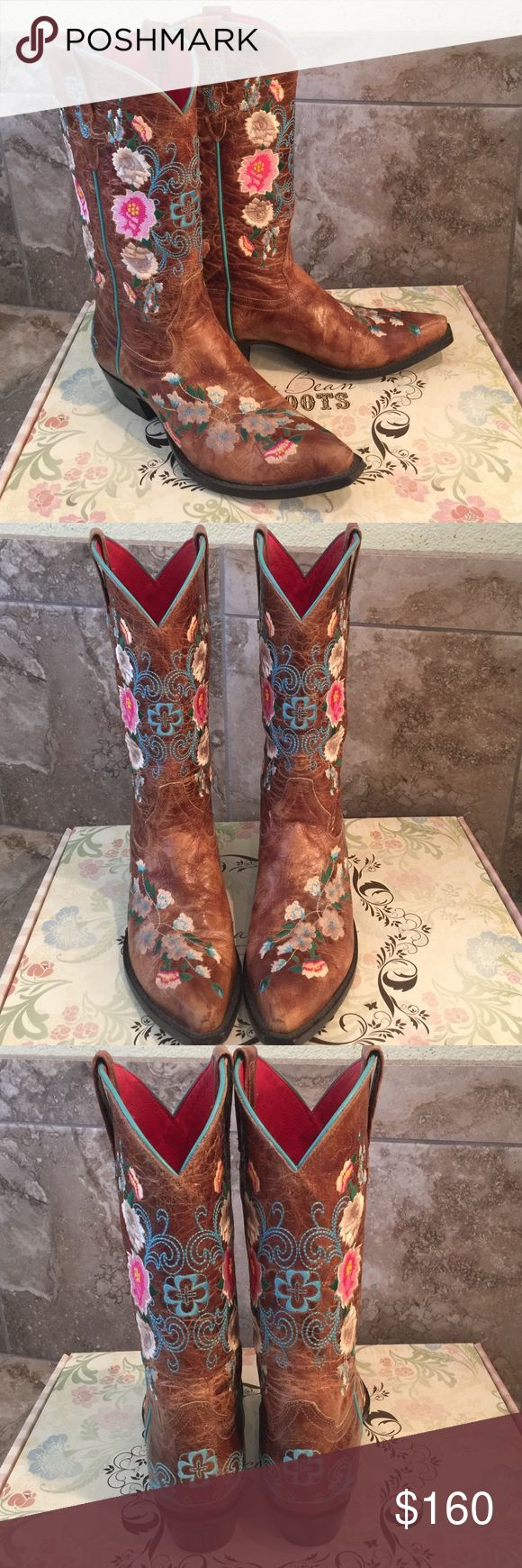 """Macie Bean Snip Toe Floral Boots size 8 Stunning Macie Bean Snip Toe Cowboy boots and one of my favorites; only worn 3 times, but sadly, just to narrow for me. (Original box) Brown Mad Cat Leather Foot & Upper 13"""" Height Floral Embroidery on the Foot, Upper & Heel Counter Decorated Pull Straps Turquoise Piping Snip Toe Cushion Insole Cowgirl Heel Channeled Single Stitched Welt Construction Macie Bean Shoes Heeled Boots"""
