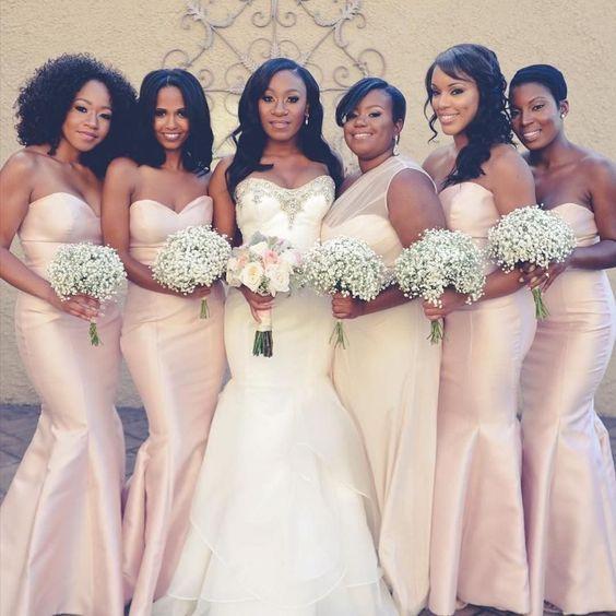 5b70ccfae77d 2017 Elegant Light Pink African American Black Girls' Bridesmaid Dress  Mermaid Satin Long New Arrival Bridesmaid Dresses in 2019 | bridesmaids |  Wedding, ...