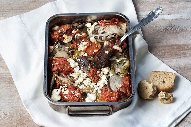 Μοσχάρι με λαχανικά και φέτα στο ταψί