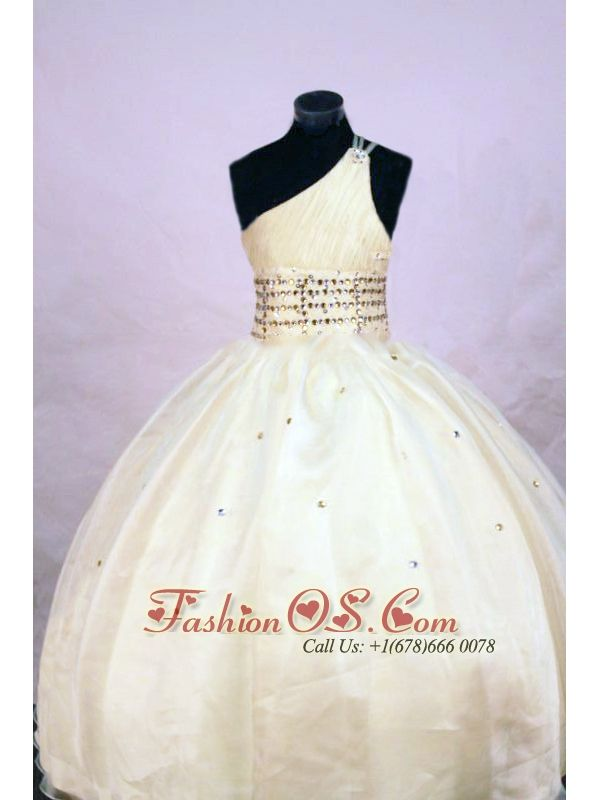 Cute Ball gown One Shoulder Floor-length Organza Yellow Beading Little Girl Pageant Dresses- $122.59  www.fashionos.com   | glamorous and wonderful little girl pageant dresses of miss black america | 2013 fall discount little girls formal dresses | 2015 simple pageant dresses for little girls | 2016 hire sophias baby girl pageant dresses | places to get little girl pageant dress |