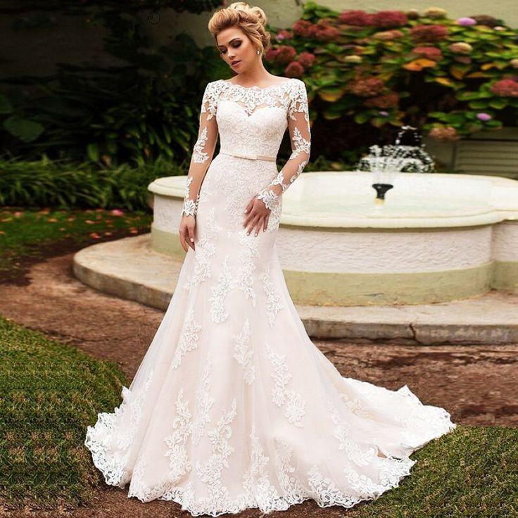 111.3 $ Vestidos Novia Vestidos de novia de manga larga de encaje con apliques