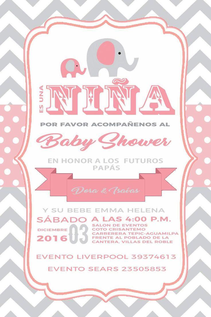 Fiesta Ideas Invitaciones Baby Shower.54 Invitaciones Baby Shower Elefante Nina