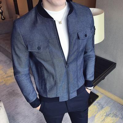 Denim Jacket Mens Slim Fit Jacket Blue Grey