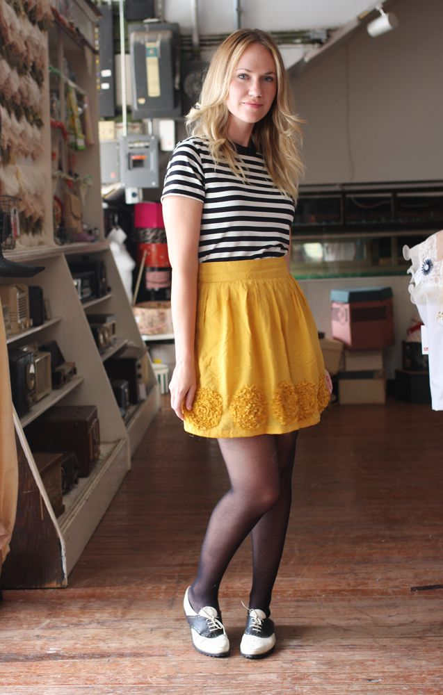 So gorgeous! Striped black and white monochrome 3/4 length shirt, with a textured flower yellow/mustard skirt.