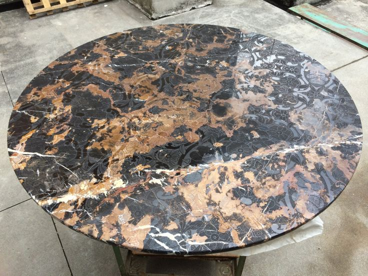 Black Gold Marble engraved Lace effect