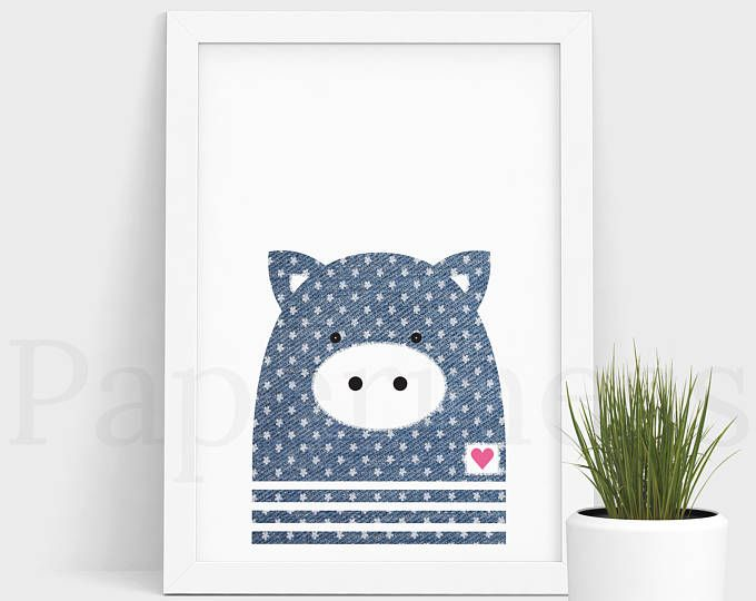 Pig Print, Baby Animal, Denim With Flowers, Large Printable Poster, Digital Download, Nursery Art, Nursery Wall Art, Baby Room Art