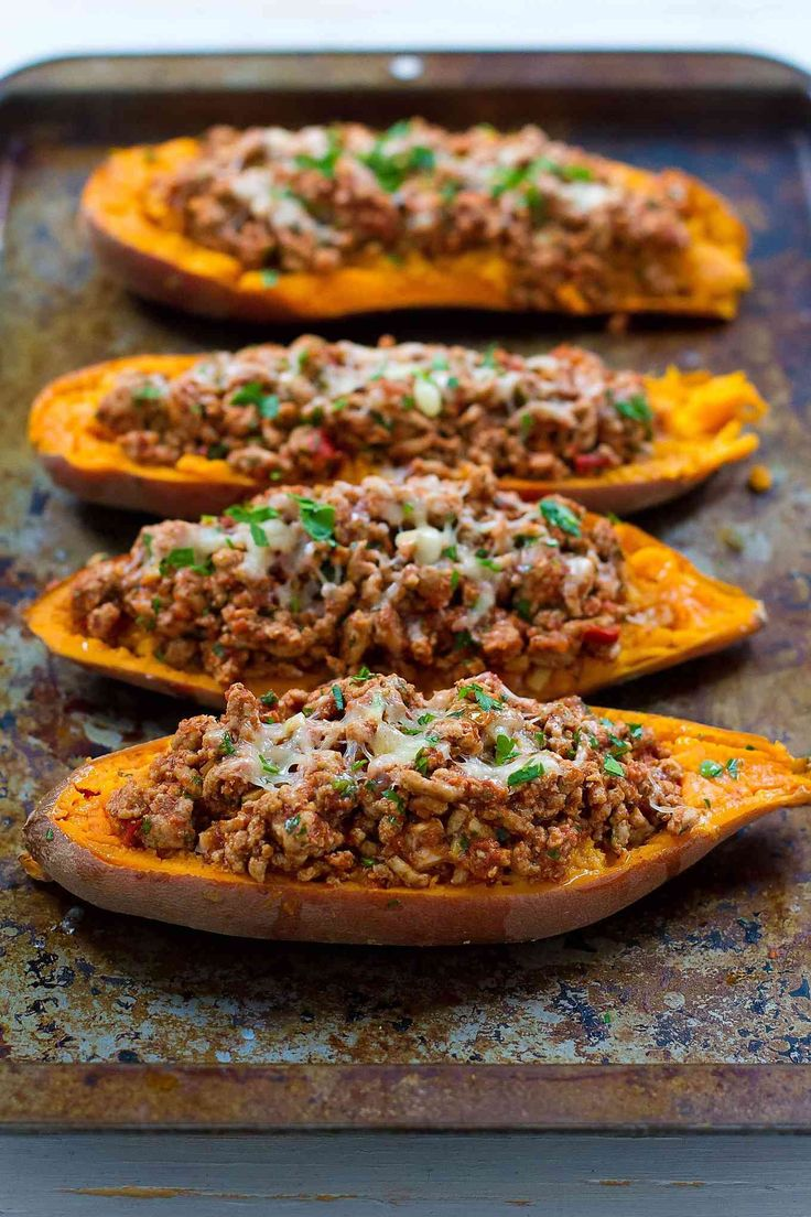 20 minute meal! These Turkey Taco Stuffed Sweet Potatoes are a fantastic option when you need a quick dinner recipe. from @cookincanuck
