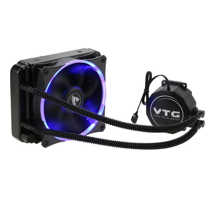 VTG120 Líquido Congelador de Agua Sistema de Enfriamiento Líquido Refrigerador de la CPU Fluid Dynamic Bearing 120mm Ventilador con Luz LED Azul