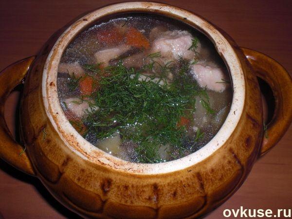 Деревенский суп в горшочке