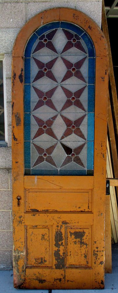 ~ ANTIQUE AMERICAN STAINED GLASS ARCHED DOOR ~ 32x95.5 ~ ARCHITECTURAL SALVAGE ~