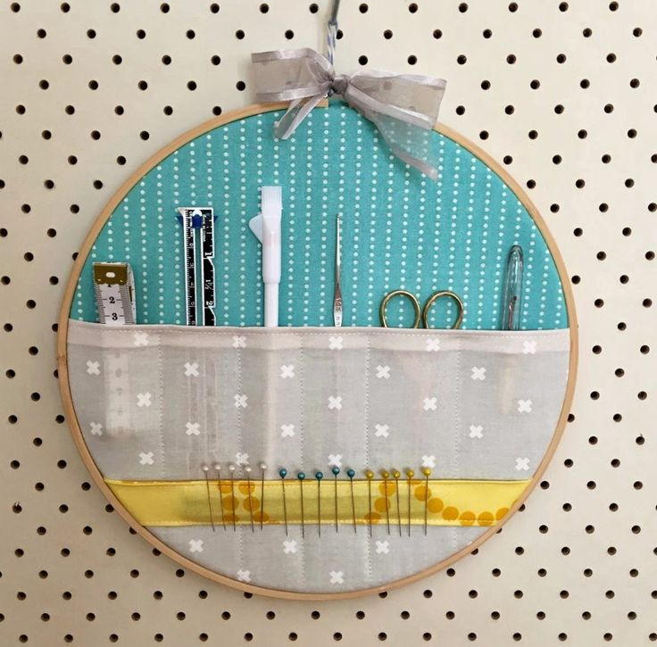 Use Your Favorite Fabrics To Make This Embroidery Hoop Storage Pockets Wall Hanger And Keep ...
