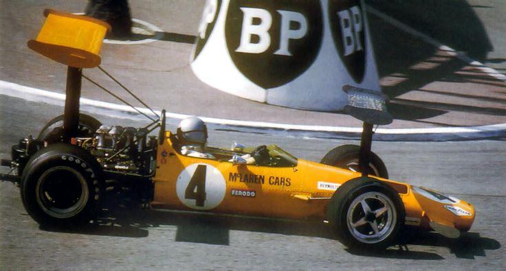 Bruce McLaren, 1969 Monaco GP rounding Station Hairpin in his McLaren M7C-1