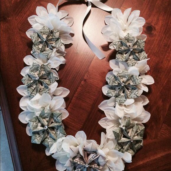 Silk flower and money graduation lei