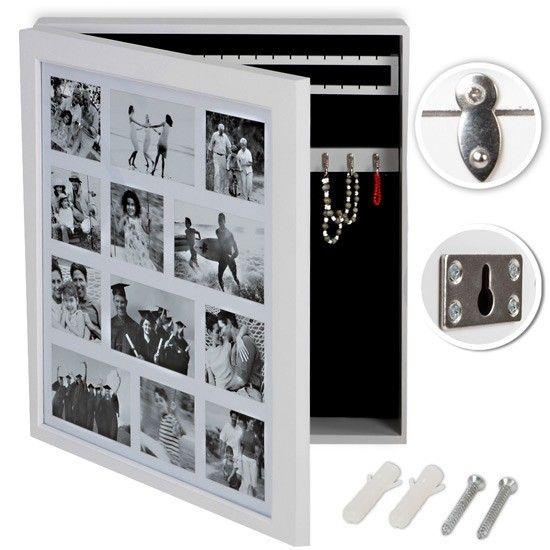 Armoire à bijoux blanc + cadre photo