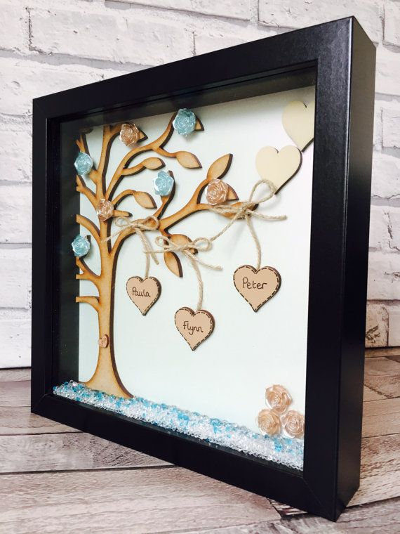 Family Tree Frame  Beautifully personalised Family Tree Frame made of the highest quality and making a wonderful gift for birthdays, weddings or simply because.  Measuring 25cm x 25cm the frame is designed with a large wooden family tree with up to six hanging heart names. Each wooden heart is painted and personalised in a style of your choice and buttons to present the leaves are added to the tree. A personalised message can be added to the bottom and made from pearl paper - this can be a…