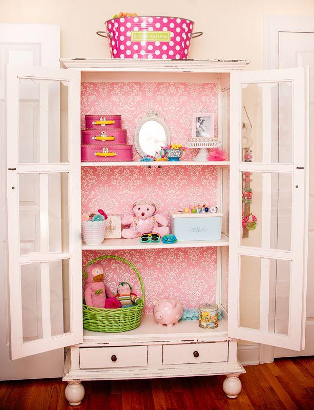 Vintage Baby Girl Nursery Bookshelf with Toys