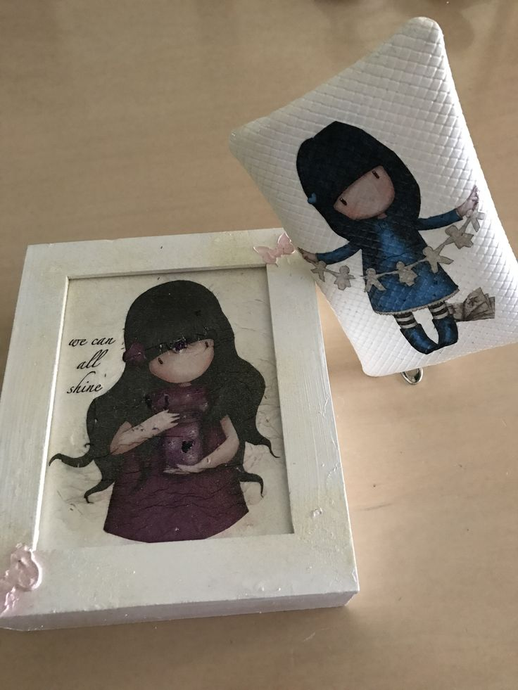 Sadoro image decoupage on wooden box and little bag