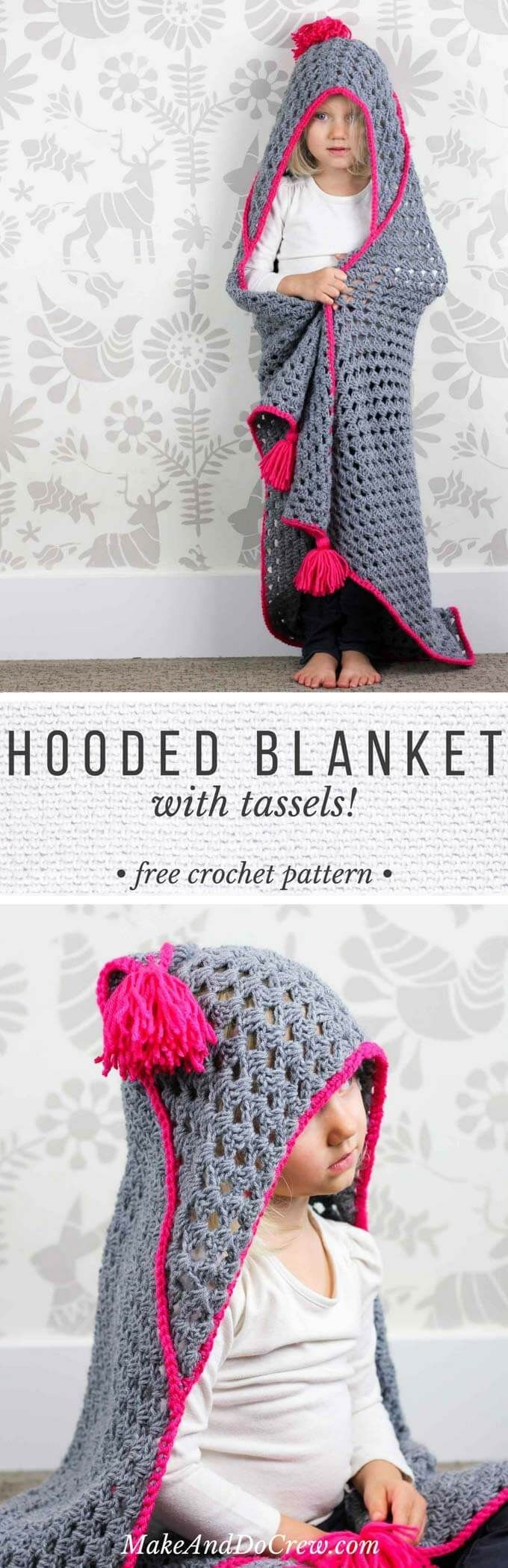 """Based on a large granny square, this free crochet hooded baby blanket pattern makes an easy and inexpensive baby shower gift or crochet charity project. Pattern includes newborn - 6 months size and 6 months - child size. Made with Lion Brand Pound of Love yarn in """"Oxford Grey"""" and Vanna's Choice in """"Rose Shocking."""""""