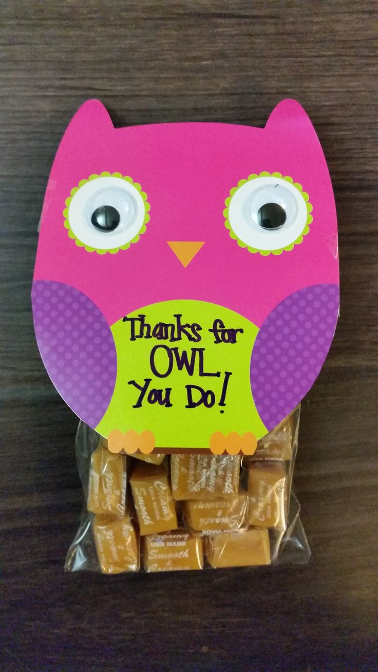 O Fam's Teacher / Classroom Aide Appreciation Gift. Thanks for OWL you do! Using Dollar Tree finds - owl invitations, lollipop bags and caramel.
