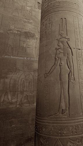 #Hathor, #Sky-Goddess #of# women, fertility and love. Temple of Kom Ombo, Aswan, Egypt.