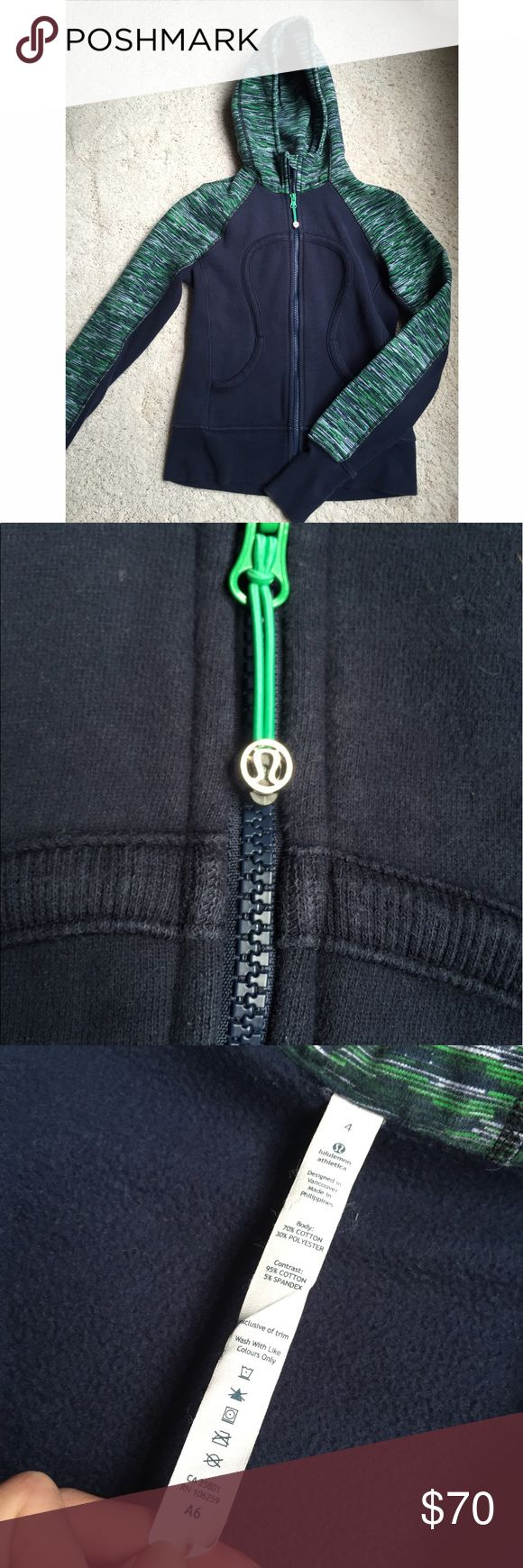 "Lululemon zip up Lulu Lemon zip up hoodie is great condition. Navy blue with green and white pattern. Has holes for thumbs. Size ""4"" but fits like small lululemon athletica Tops Sweatshirts & Hoodies"