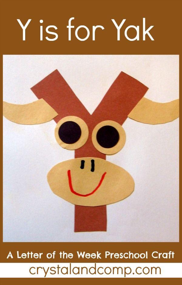 Y is for Yak: A Letter of the Week Preschool Craft #preschoolcraft #letteroftheweek