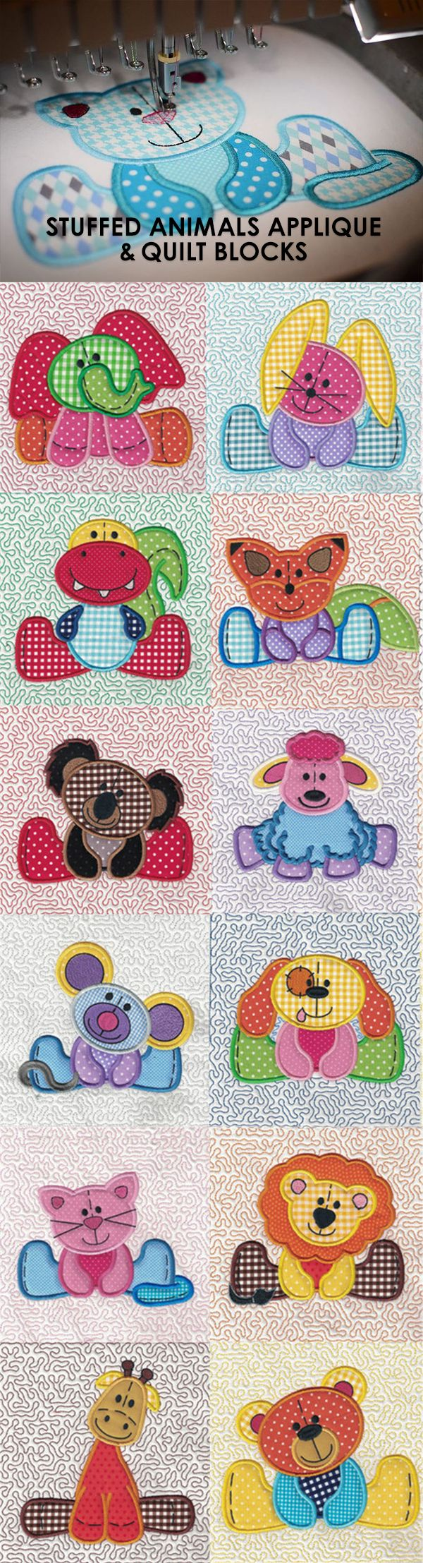 The Stuffed Animals Applique and Quilt Blocks is a seriously adorable set perfect for the little ones in your life! Available as just an applique and w/ a stipple background. Available for instant download at www.designsbyjuju.com