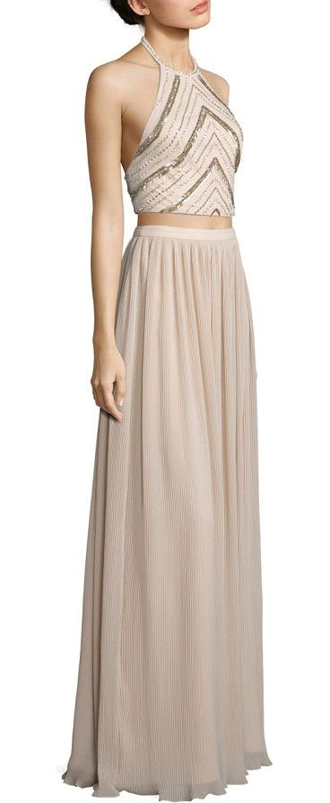 On SALE at 40% OFF! two-piece beaded halter top & pleated maxi skirt by Aidan Mattox. Beaded cropped top pairs with pleated maxi skirt. Polyester. Spot clean. Imported. Top. Halterneck. Sleeveless. Conce...