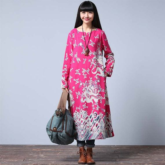 Casual Loose Fitting Long Sleeved Cotton Long Dress Blouse