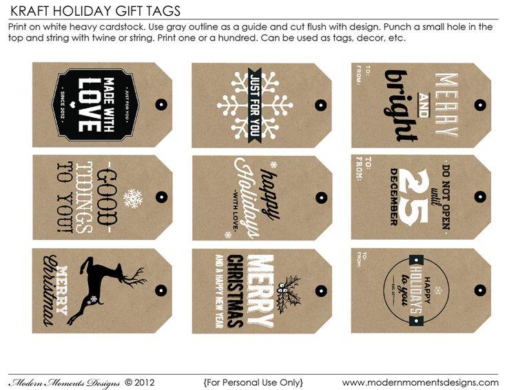 Free printable: Kraft Holiday Tags