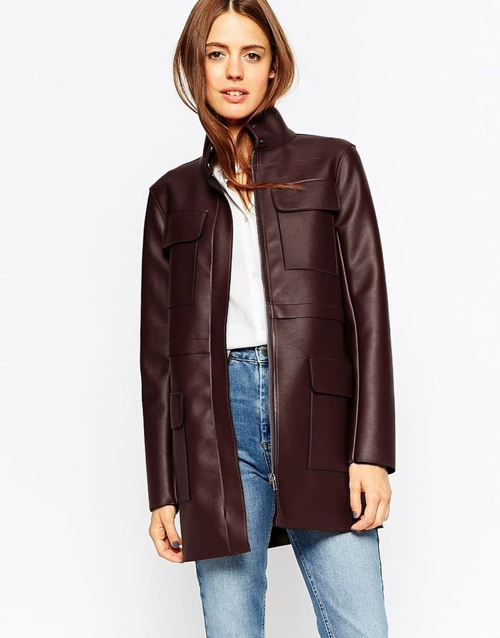 ASOS COLLECTION ASOS Jacket with Utility Styling in Leather Look