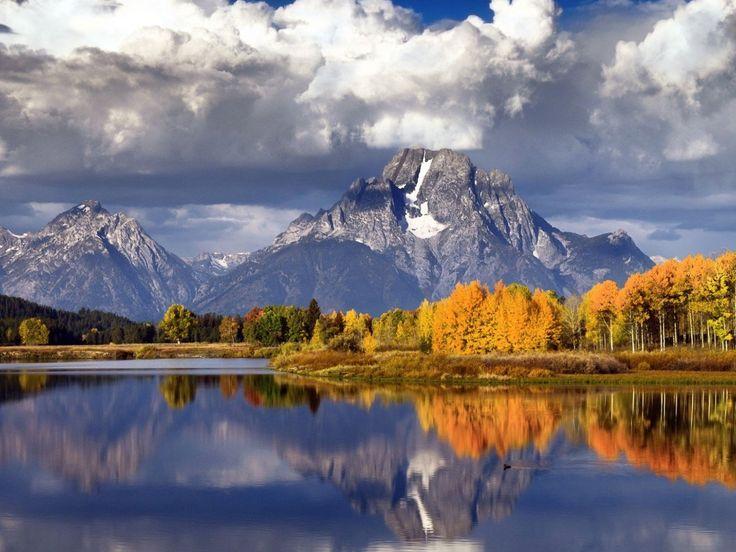 skog og fjell | innsjø, fjell, skog, høst, trær, skyer, vann, refleksjon, natur ...