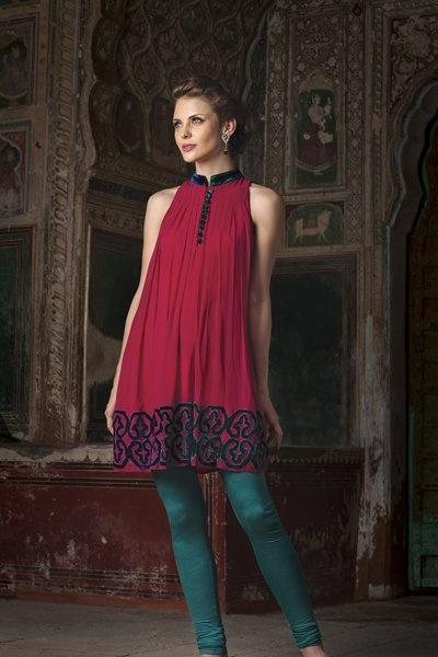 Georgette kurti with velvet appliqué work by Benzer priced at $119