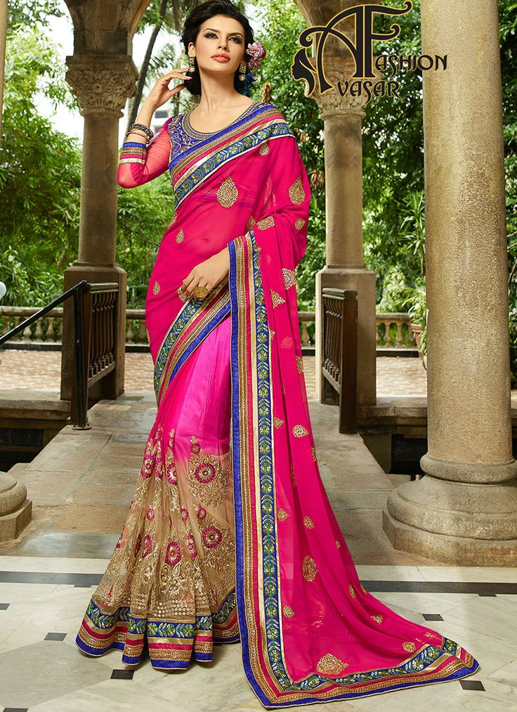 bridal net sarees.Be the sunshine of anyone's eyes dressed with this pretty Rose Pink & Dark Cream Net Saree. The ethnic Lace & Stones work at the clothing