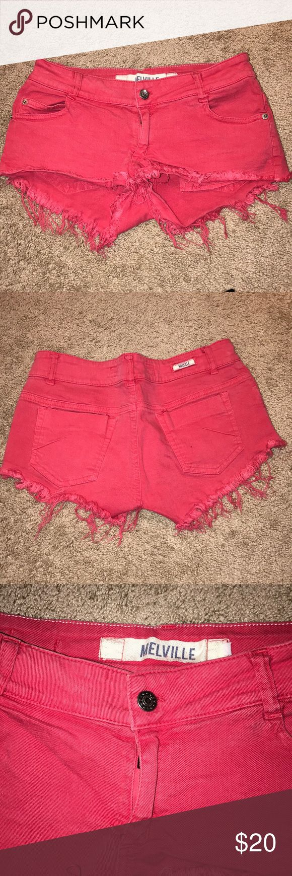 Brandy Melville pink shorts Hot pink Brandy Melville shorts. Jagged bottom. Cheeky. Bought in Europe so tag says size 40. This is equivalent to a size 3-5 in US. Brandy Melville Shorts Jean Shorts