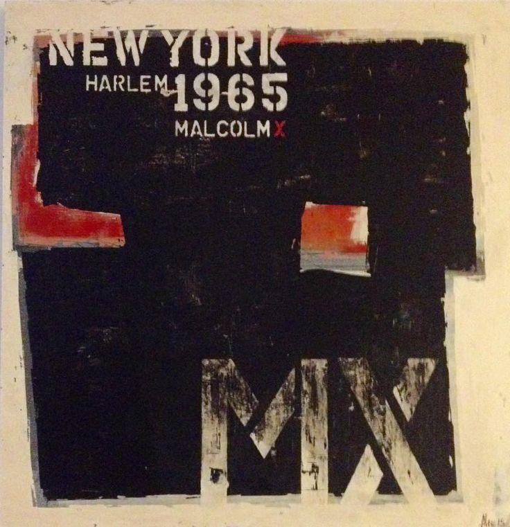 """NEW YORK - Malcom X 29,5""""x 28,25"""" 2015 Acrylique sur bois. http://alecsurfaces.blogspot.ca/"""
