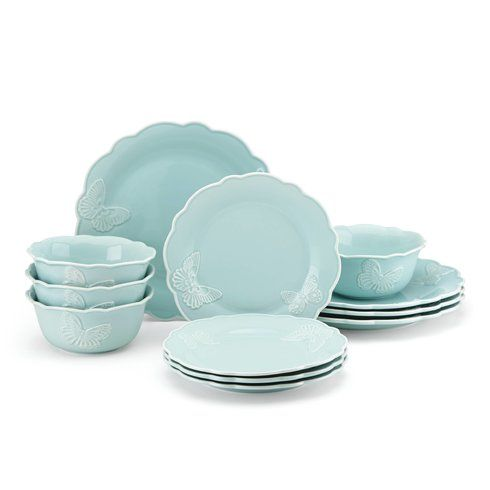 Meadow® Butterfly Carved 12 Piece Dinnerware Set, Service for 4