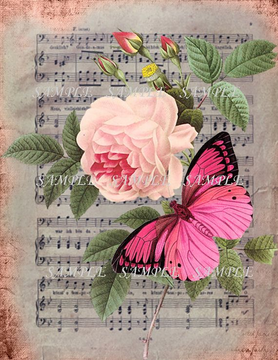 Printable 300dpi Shabby wallpaper Antique Butterfly by RalphPia, $1.20