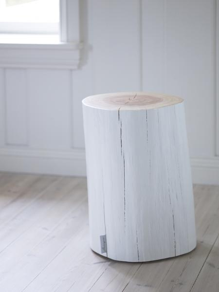 white painted log