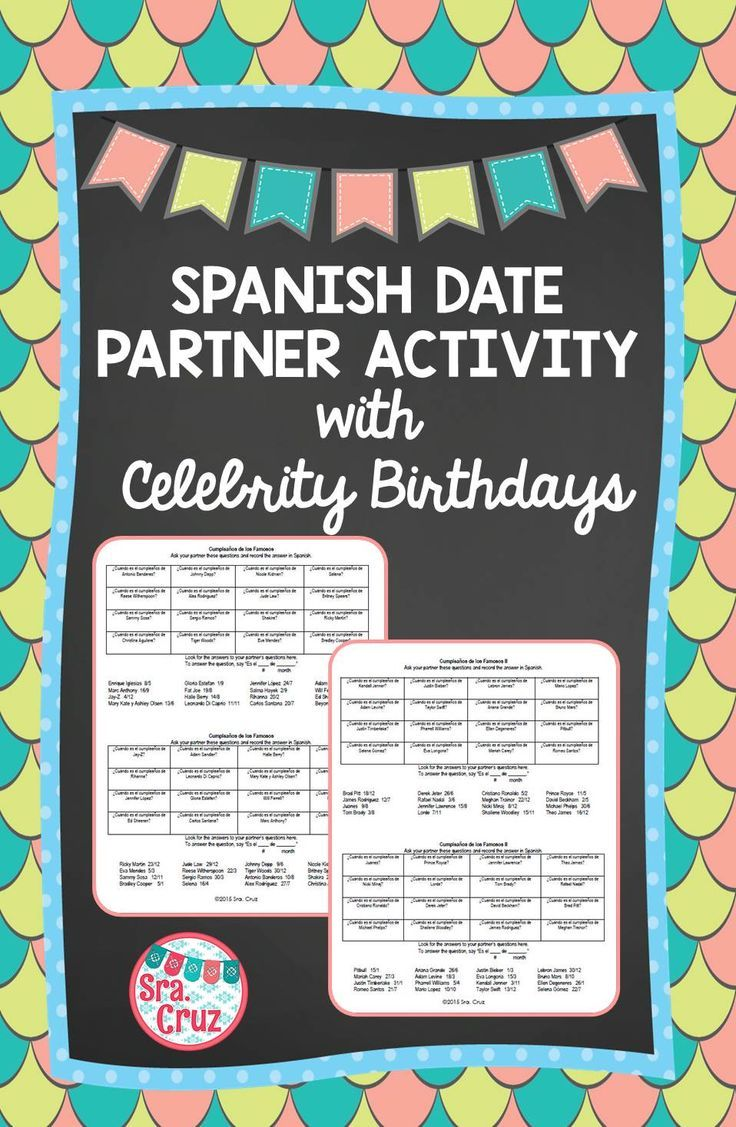 Spanish Date Practice: Partner Activity with Celebrity Birthdays   This is an oral partner information gap activity to practice asking and saying the date in Spanish using celebrities' birthdays (64 celebrities total!).