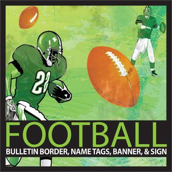 "Sports are an important part of the school experience and a good hook to draw interest in a topic. With this product you can decorate your bulletin boards with football themed borders to visually enhance displays, engage students interest, and target themes for certain times of the year, like football season or during football events at your school.This product includes 1 football bulletin board sized 10.5 X 2.25, 3 editable name tags, ""football team"" banner, 1 editable banner, and an…"